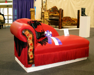 photo of chaise longue with playing card motif